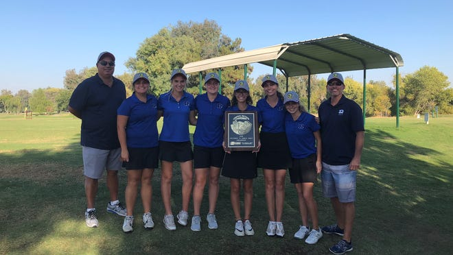 The Redwood High girls golf team captured the Central Section Division II championship on Monday in Lemoore. Pictured left to right, coach Lonnie de Asis, Rylee Santiago, Lily Stetson, Ashley Wainwright, Halle Arellano, Sabrina Bianco, Sophie Wasem and coach Ryan Cochran.