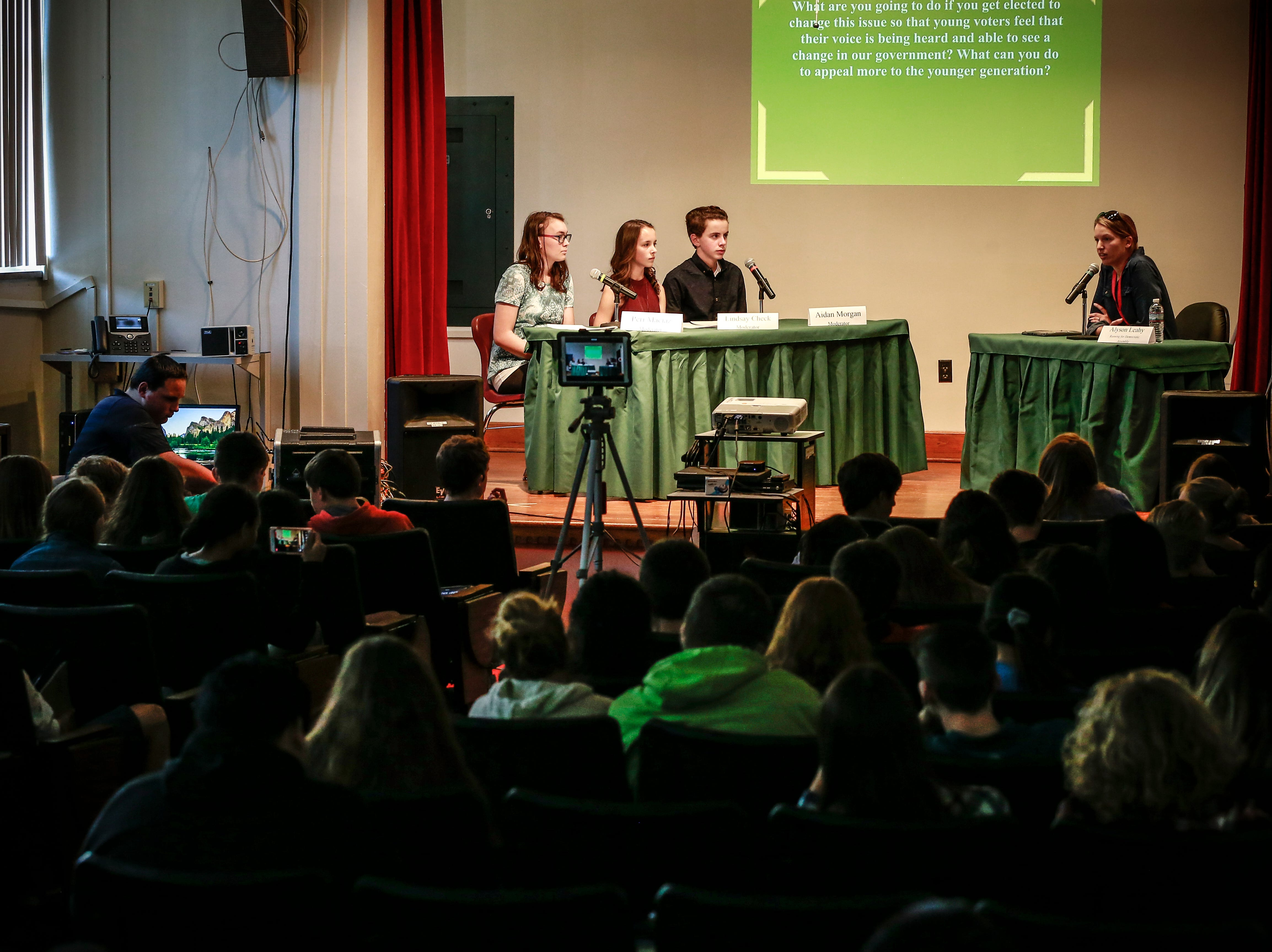The 9th grade students held an Action Civics Political Forum Wednesday, Oct. 17, 2018, at D.C. Everest Junior High School auditorium in Weston, Wis. T'xer Zhon Kha/USA TODAY NETWORK-Wisconsin