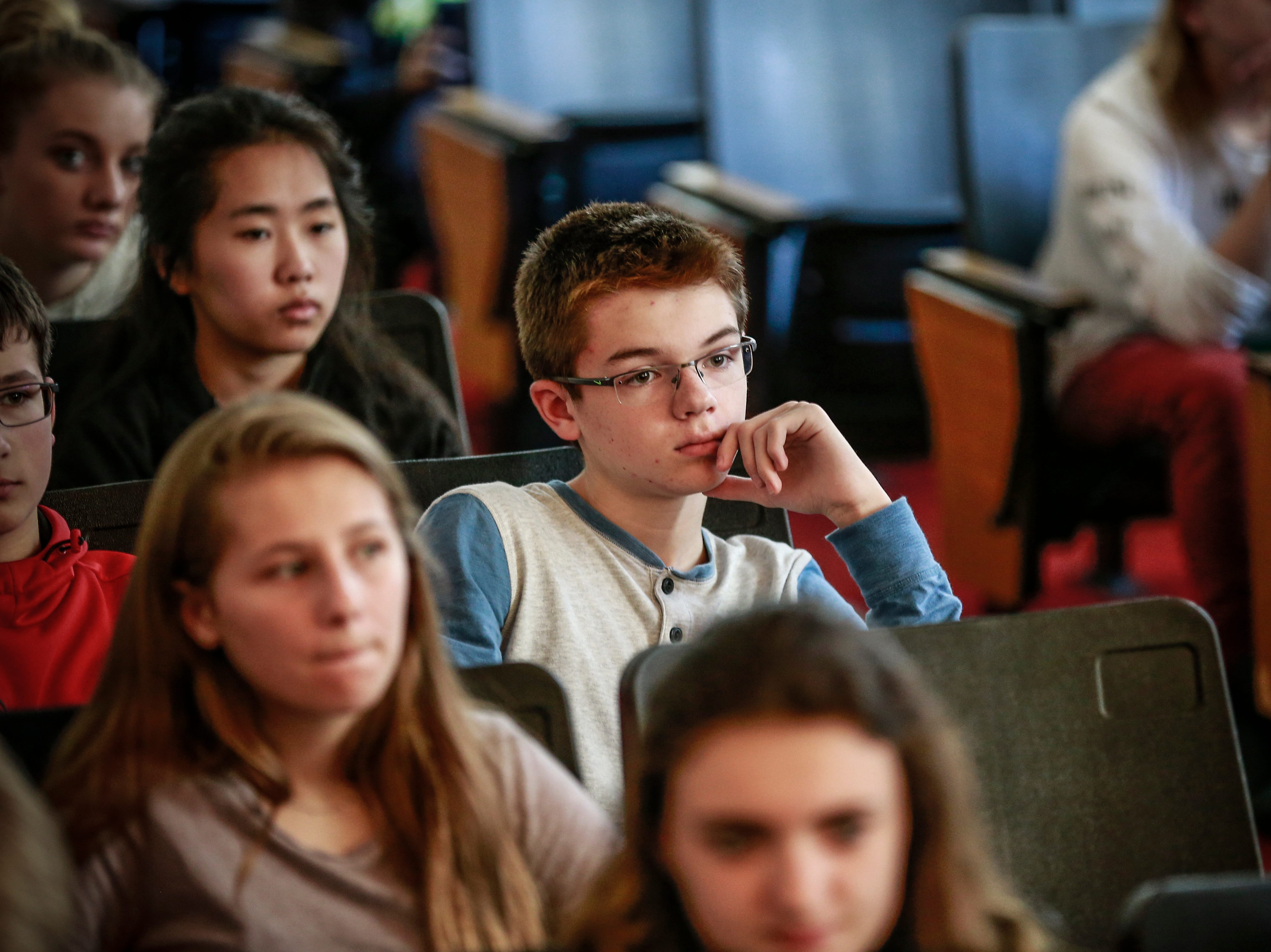 Students listen during the 9th grade Action Civics Political Forum Wednesday, Oct. 17, 2018, at D.C. Everest Junior High School auditorium in Weston, Wis. T'xer Zhon Kha/USA TODAY NETWORK-Wisconsin