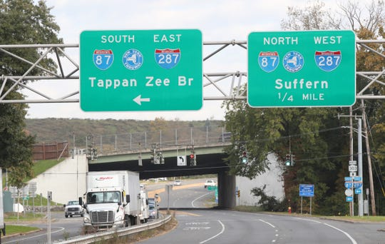 A Tappan Zee Bridge sign on Route 303 in West Nyack has not been changed to reflect the Mario Cuomo Bridge. Tuesday, October 23, 2018.