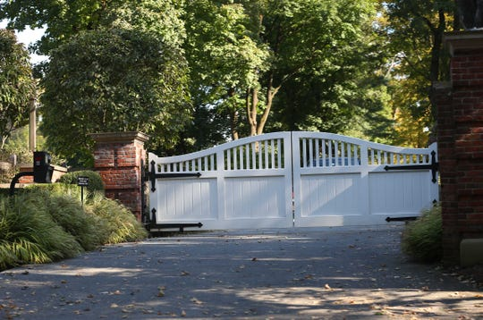 The gated entrance to George Soros' house at 168 Cantitoe Street in Katonah Oct. 23, 2018.