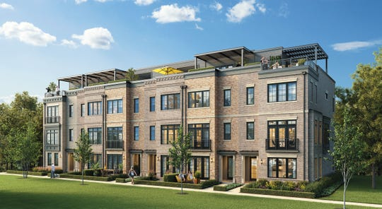 A rendering of one of the townhomes being built at the Edge-on-Hudson, a new residential development planned for the site of the former General Motors assembly plant in Sleepy Hollow.