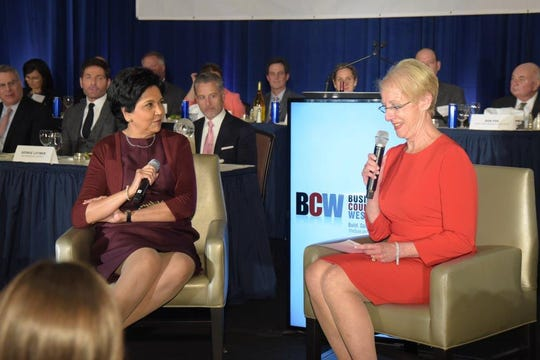 Indra Nooyi (left) speaks to Marsha Gordon
