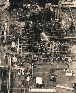 An aerial view of the Amoco chemical plant after an October 1980 explosion.