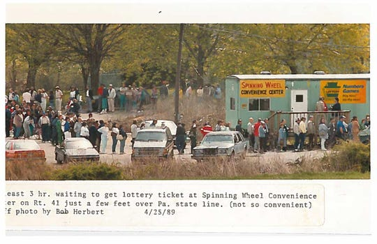 Lottery lines from early on Monday morning at Brewer's outlet on Concord Pike for the PA lottery in 1984.