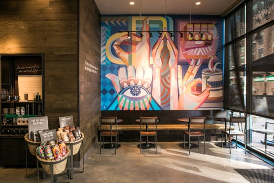 A mural at Starbucks first U.S. Signing Store in Washington D.C.