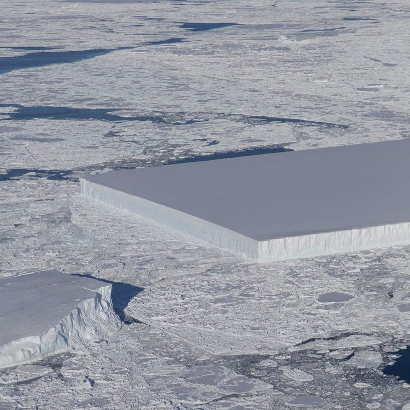 This iceberg captured in NASA image looks like a perfect rectangle