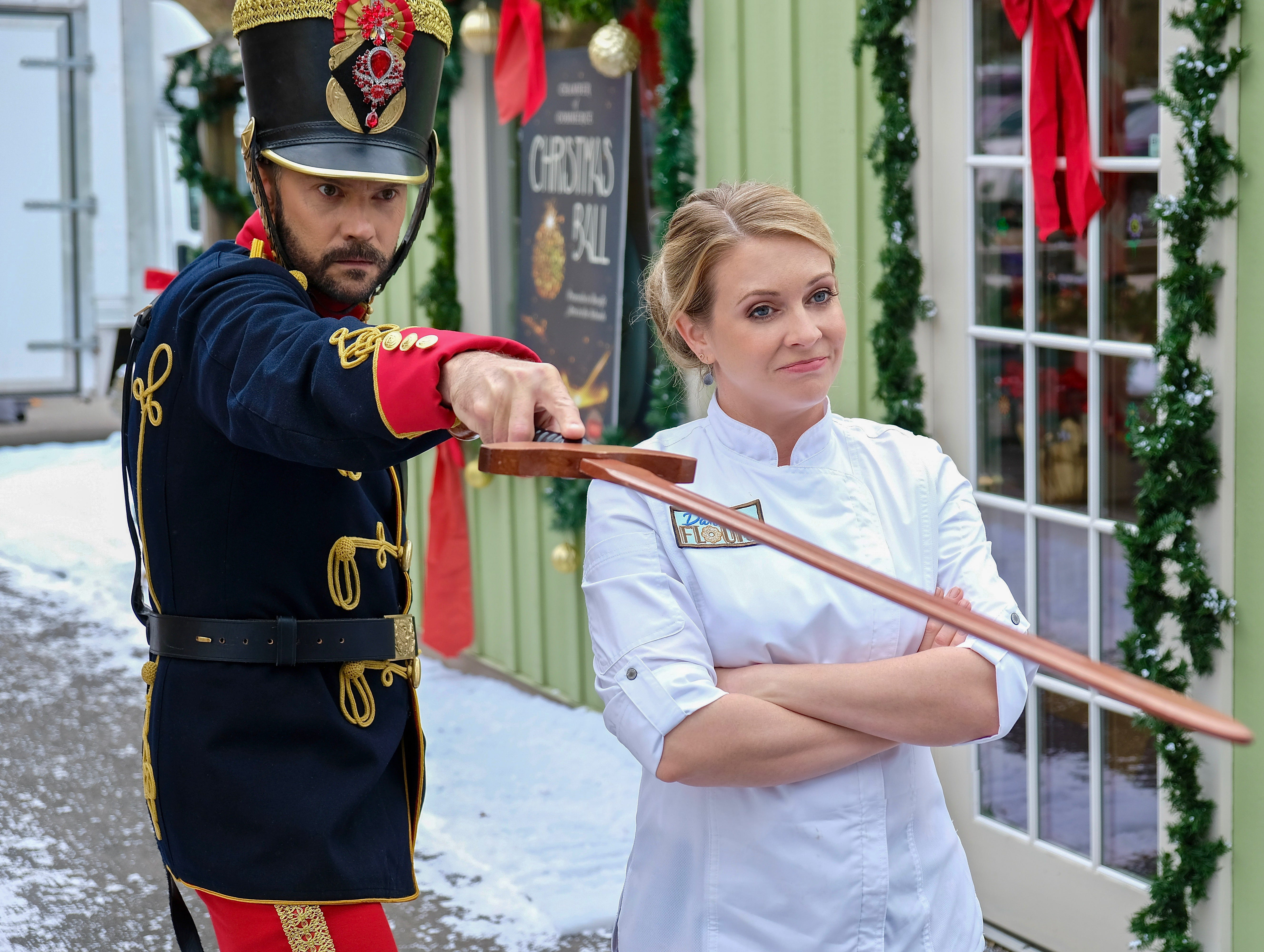 """""""A Very Nutty Christmas"""" (Lifetime, Nov. 30, 8 EST/PST): Bakery owner Kate Holiday (Melissa Joan Hart) finds Chip (Barry Watson), a man who thinks he's a soldier from The Nutcracker."""