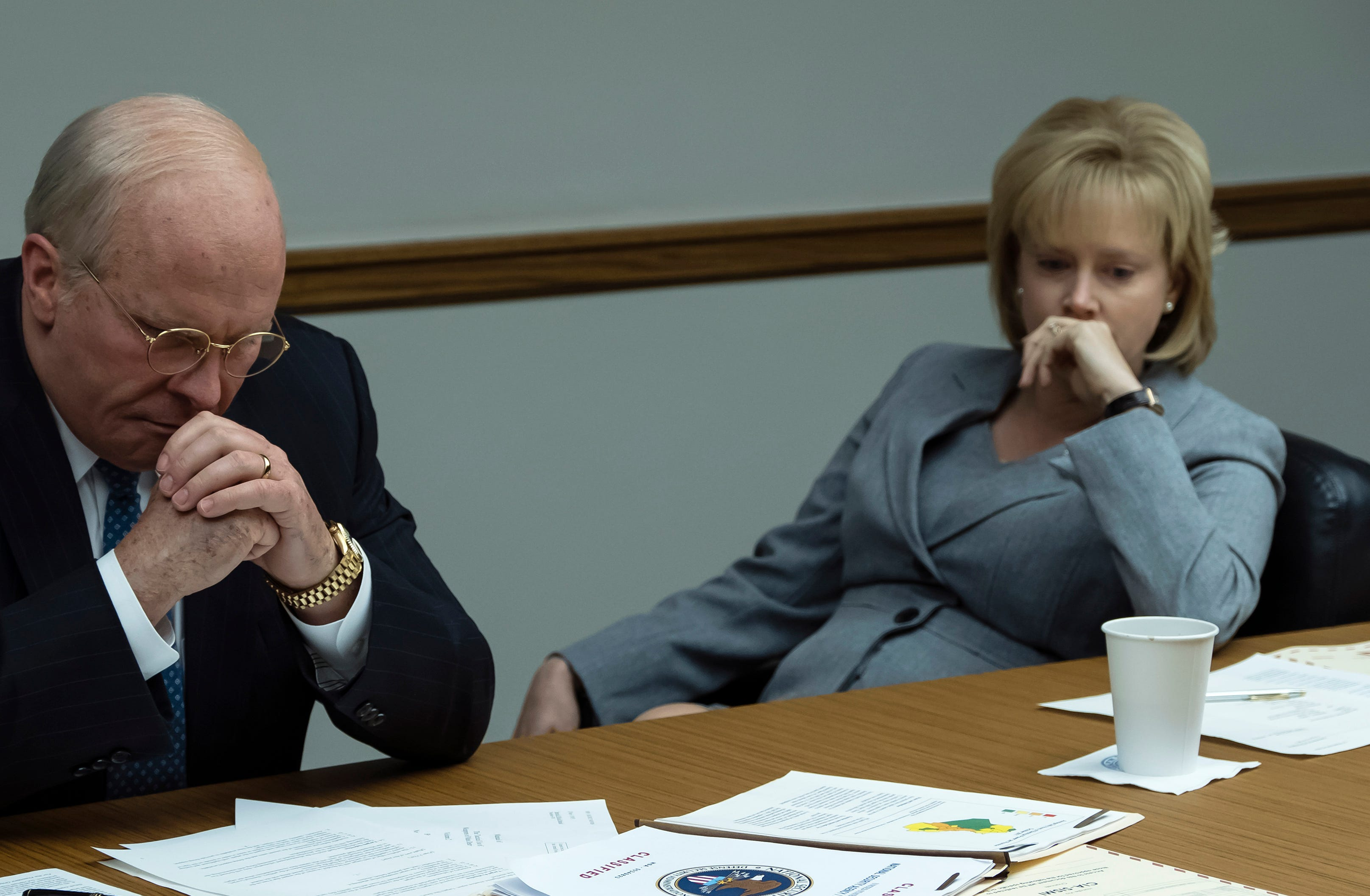 "Christian Bale plays Vice President Dick Cheney and Amy Adams is wife Lynne Cheney in Adam McKay's political drama ""Vice."""