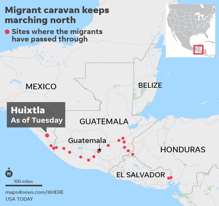 Huixtla, Mexico: Thousands in migrant caravan descend on small town