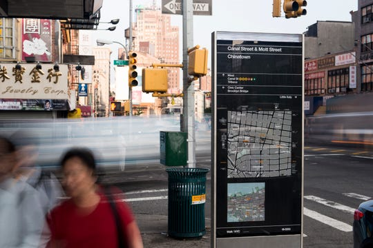 Maps and signage on kiosks situated along the streets of New York City were designed for an organization called WalkNYC by Michael Bierut and his design team at Pentagram.