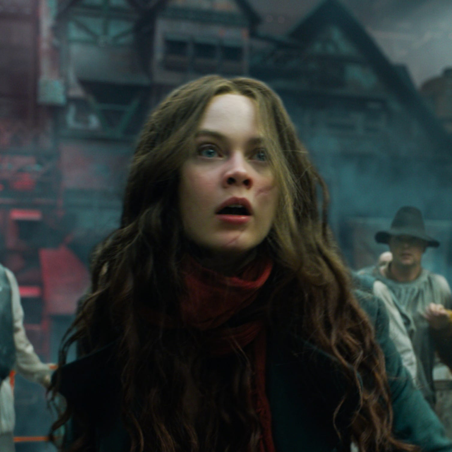 "Mysterious young assassin Hester Shaw (Hera Hilmar) might be the only prayer to stop London - now a giant predator city on wheels - from devouring what's left of civilization in the post-apocalyptic fantasy adventure ""Mortal Engines."""