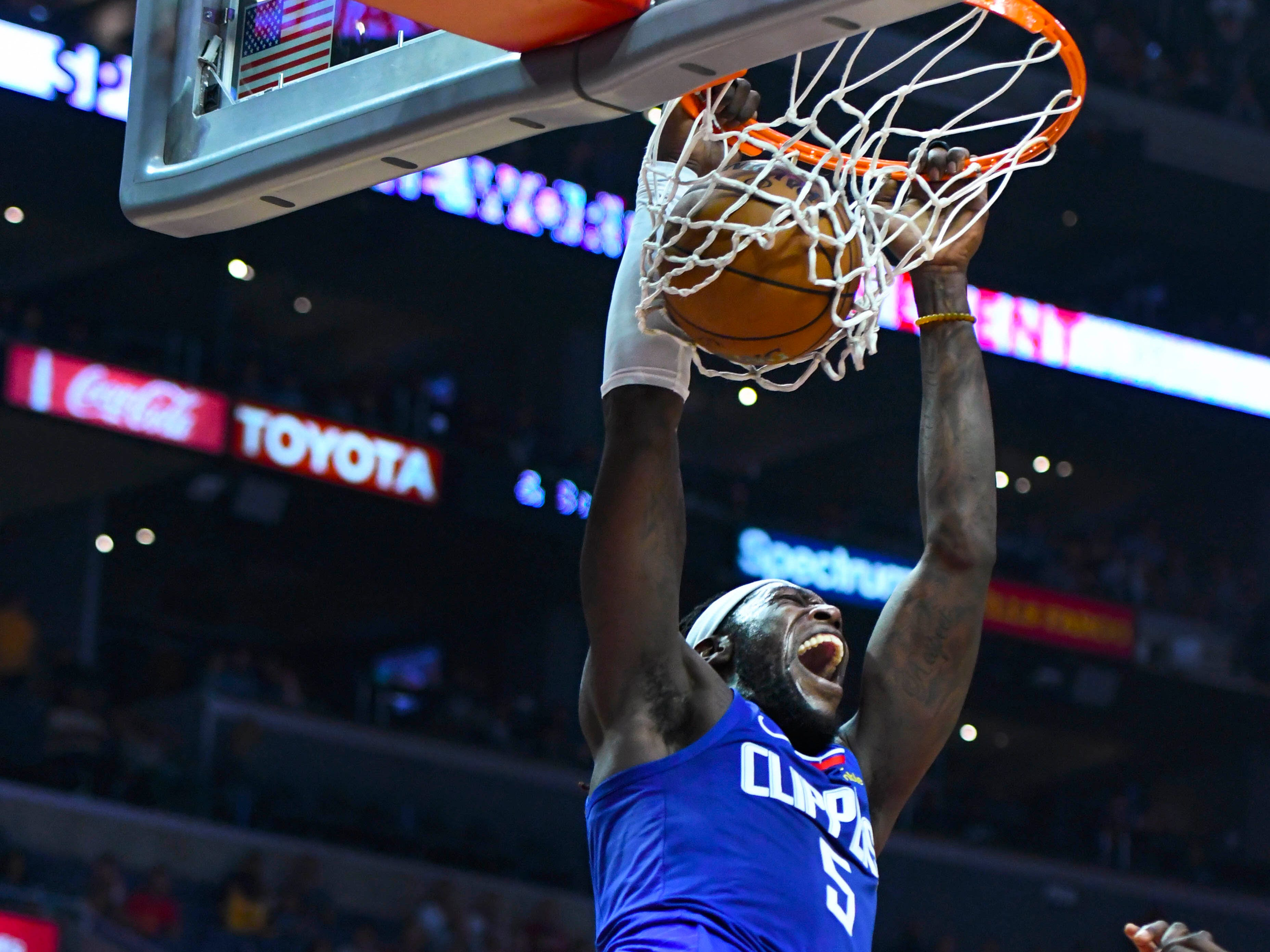 Oct 21: Clippers forward Montrezl Harrell lets out a scream after his two-handed slam against the Rockets.