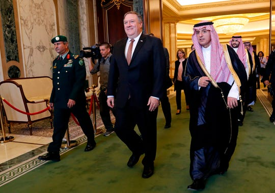 "In this Oct. 16 photo, US Secretary of State Mike Pompeo (L) walks alongside Saudi Foreign Minister Adel al-Jubeir in Riyadh. Saudi Arabia's Foreign Minister Adel al-Jubeir said October 21, 2018 the kingdom did not know where the body of slain journalist Jamal Khashoggi was, despite admitting to the killing and calling it a ""tremendous mistake."" Speaking in an interview on Fox News, Jubeir said the Saudi leadership initially believed Khashoggi had left its diplomatic mission in Istanbul, where he was last seen on October 2."