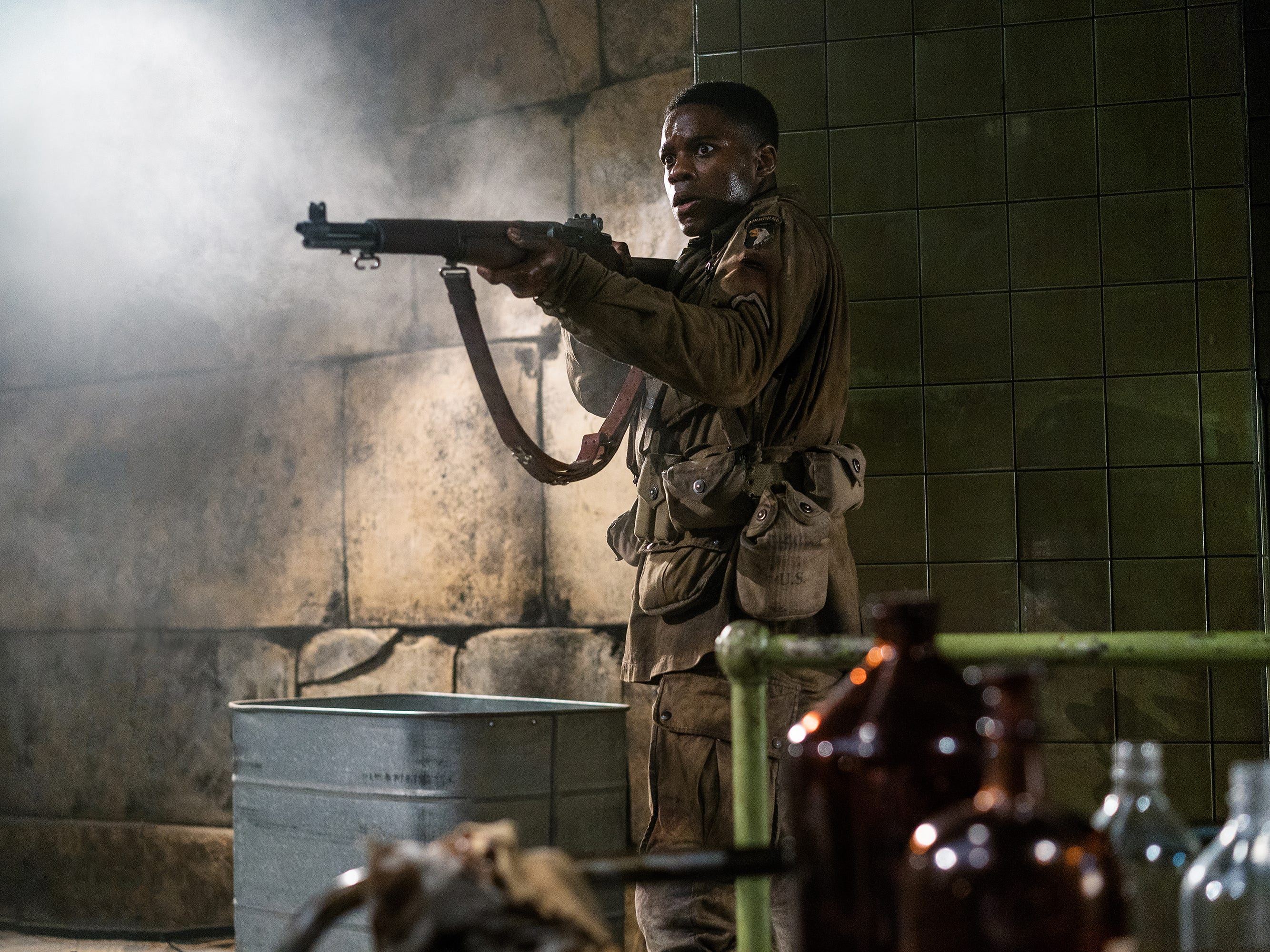 "Jovan Adepo plays an American paratrooper who fights Nazis and zombies in the World War II horror film ""Overlord."""