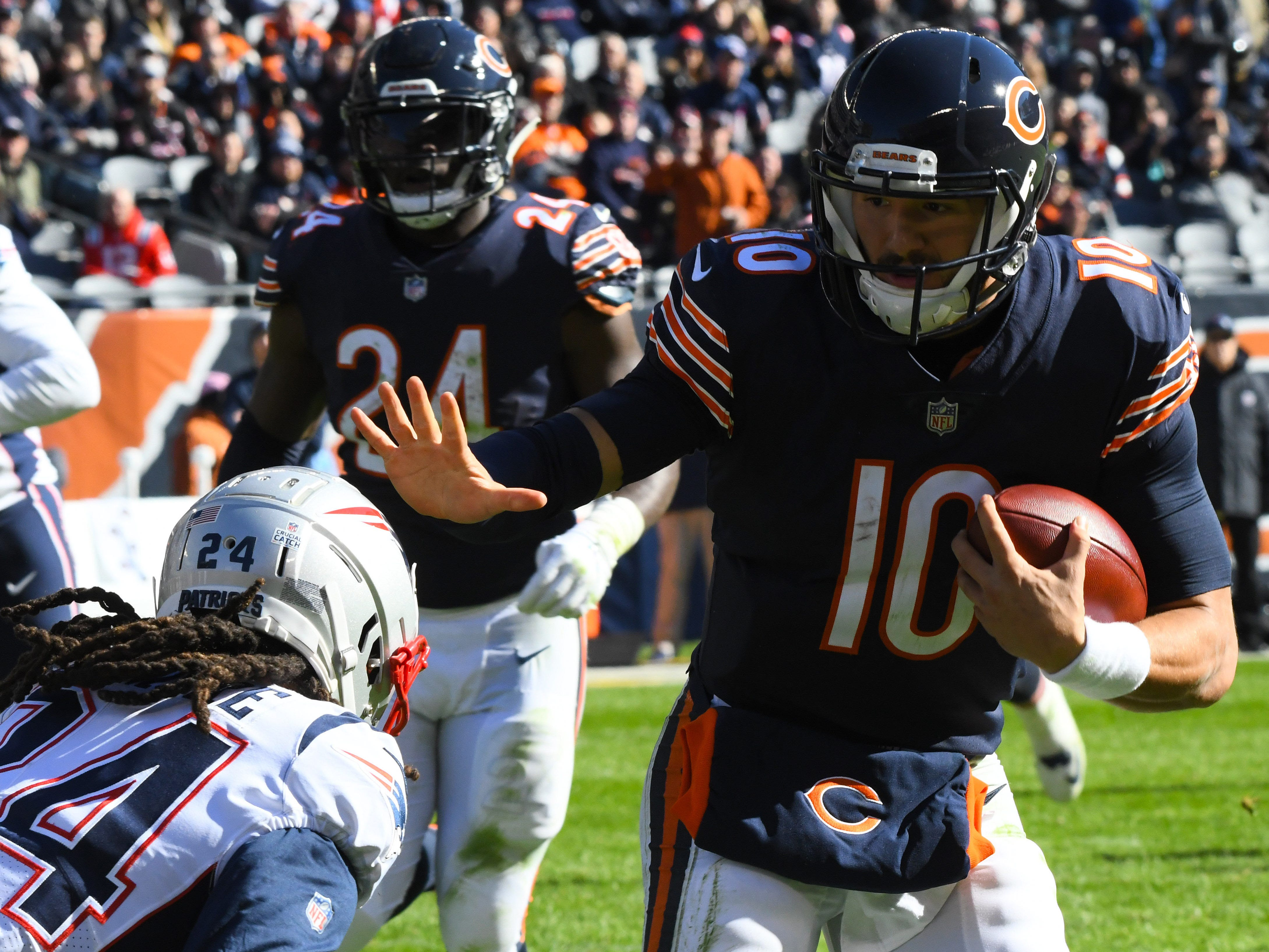 15. Bears (15): Mitch Trubisky glad we only obsess over pass efficiency, not run efficiency. (FYI, shortest distance between two points is a straight line.)