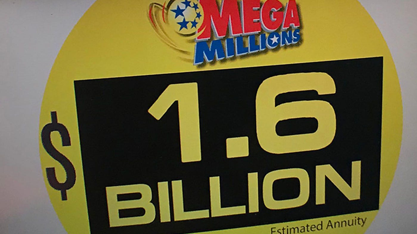 The Mega Millions jackpot, seen at Bill's Kwik Chek in Chambersburg, Pennsylvania, stands at $1.6 billion. The drawing is Tuesday, Oct. 23, 2018.