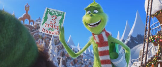"The Grinch (voiced by Benedict Cumberbatch) is a cynical grouch who schemes to steal Christmas in the animated ""Dr. Seuss' The Grinch."""