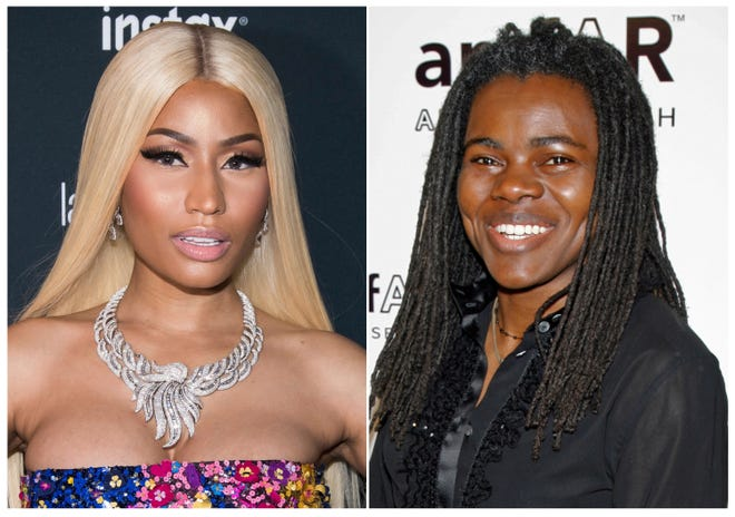 Nicki Minaj (left) is being sued for sampling a Tracy Chapman (right) song without permission. Chapman filed a copyright infringement lawsuit Monday, Oct. 22, 2018, in a Los Angeles federal court.
