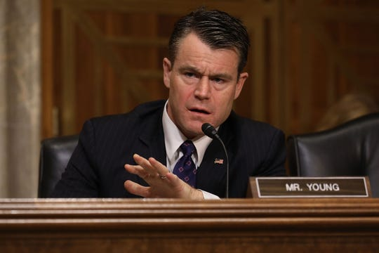 Senate Foreign Relations Committee member Sen. Todd Young (R-IN) questions witnesses during a committee hearing about Libya in the Dirksen Senate Office Building on Capitol Hill April 25, 2017 in Washington, DC.