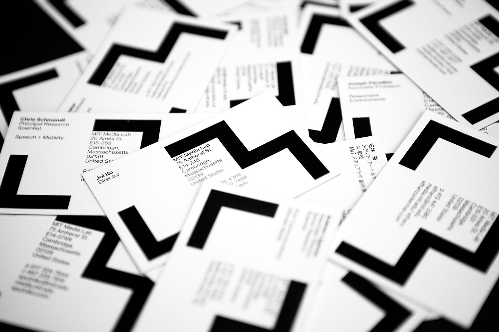 These business cards for the MIT Media Lab were part of a bigger project designed by Michael Bierut.