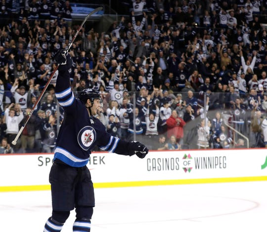 Oct. 22: Winnipeg Jets defenseman Jacob Trouba celebrates after scoring the game-winning goal past St. Louis Blues goaltender Jake Allen in OT at Bell MTS Place.