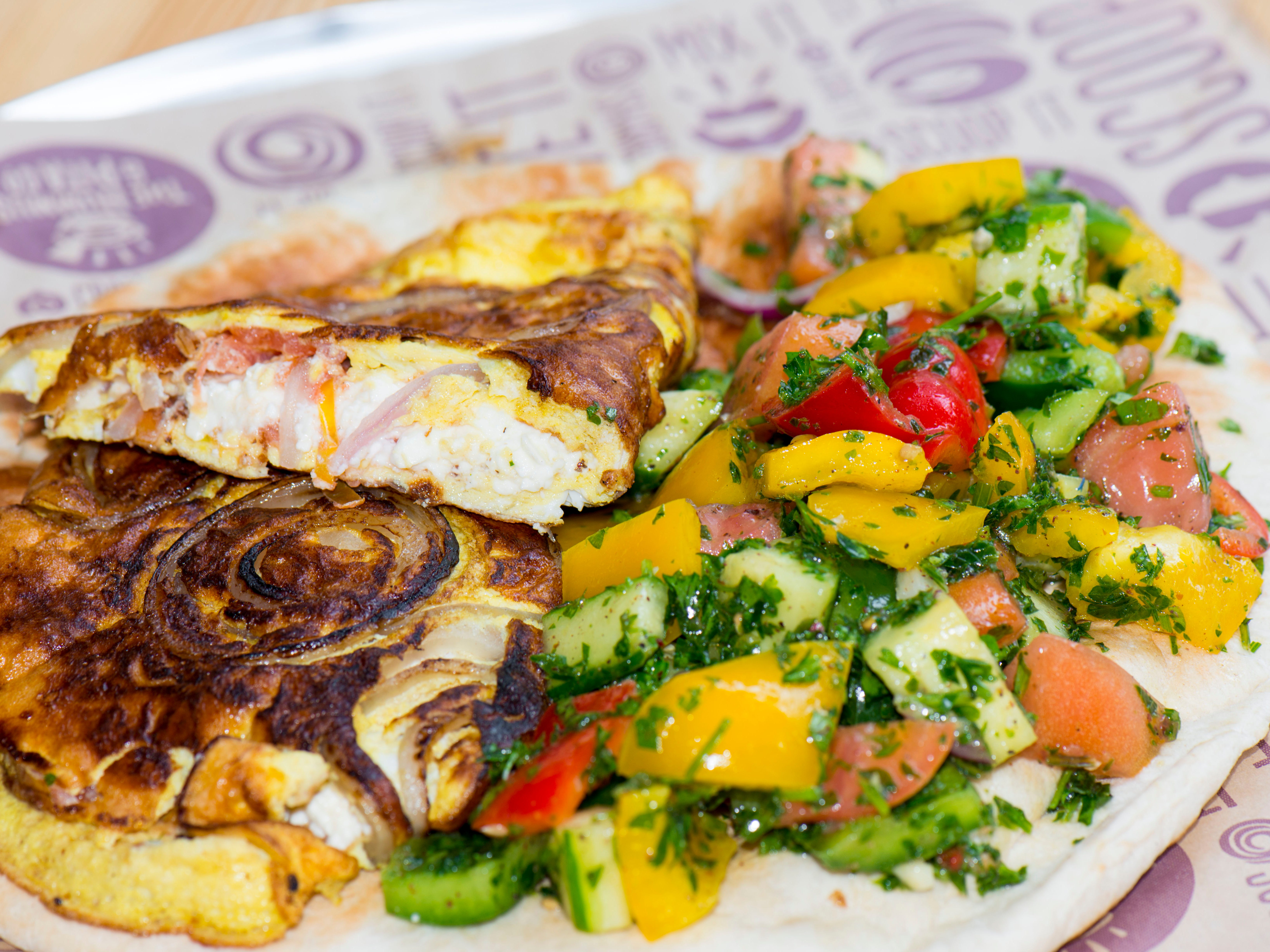 A vegetable omelet from The Hummus & Pita Co., opening in November at Bell Works in Holmdel.