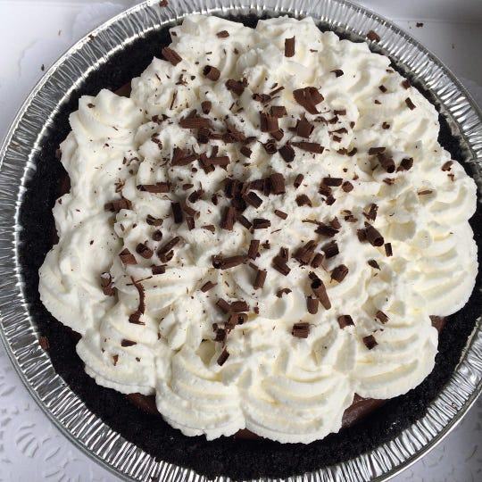 Chocolate cream pie from 502 Baking Company in Brick, which is open for takeout and delivery.