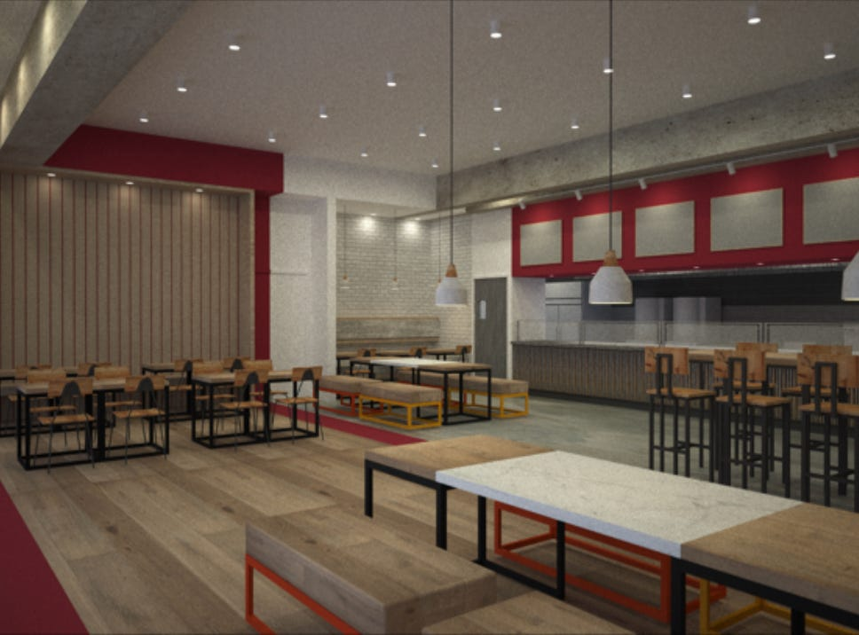 A rendering of The Hummus & Pita Co., which will open in November at Bell Works in Holmdel.
