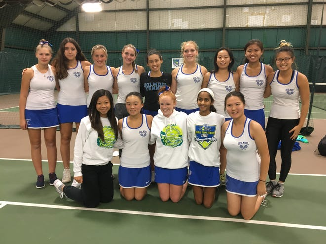 Members of the Holmdel HS girls tennis team after Wednesday's TOC final loss to Millburn