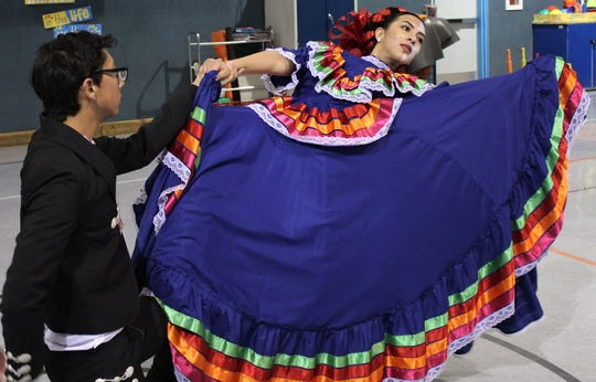 The Ruiz siblings, Alex and Julissa, practice their dance Tuesday at the Jackson Elementary School gym that will conclude a performance by Ballet Folklorico del Big Country at Saturday's Abilene Philharmonic concert.