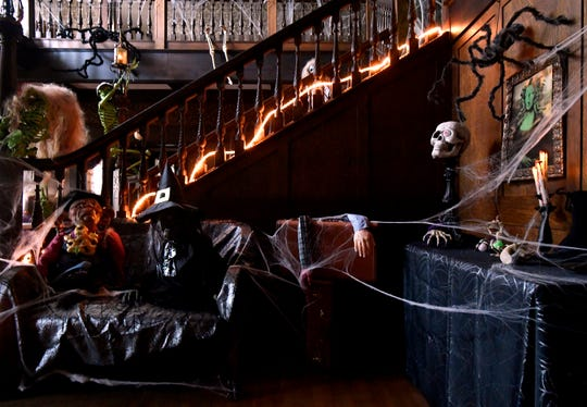 Decorations beside the main staircase at the Swenson House Wednesday Oct. 24, 2018 for Halloween.