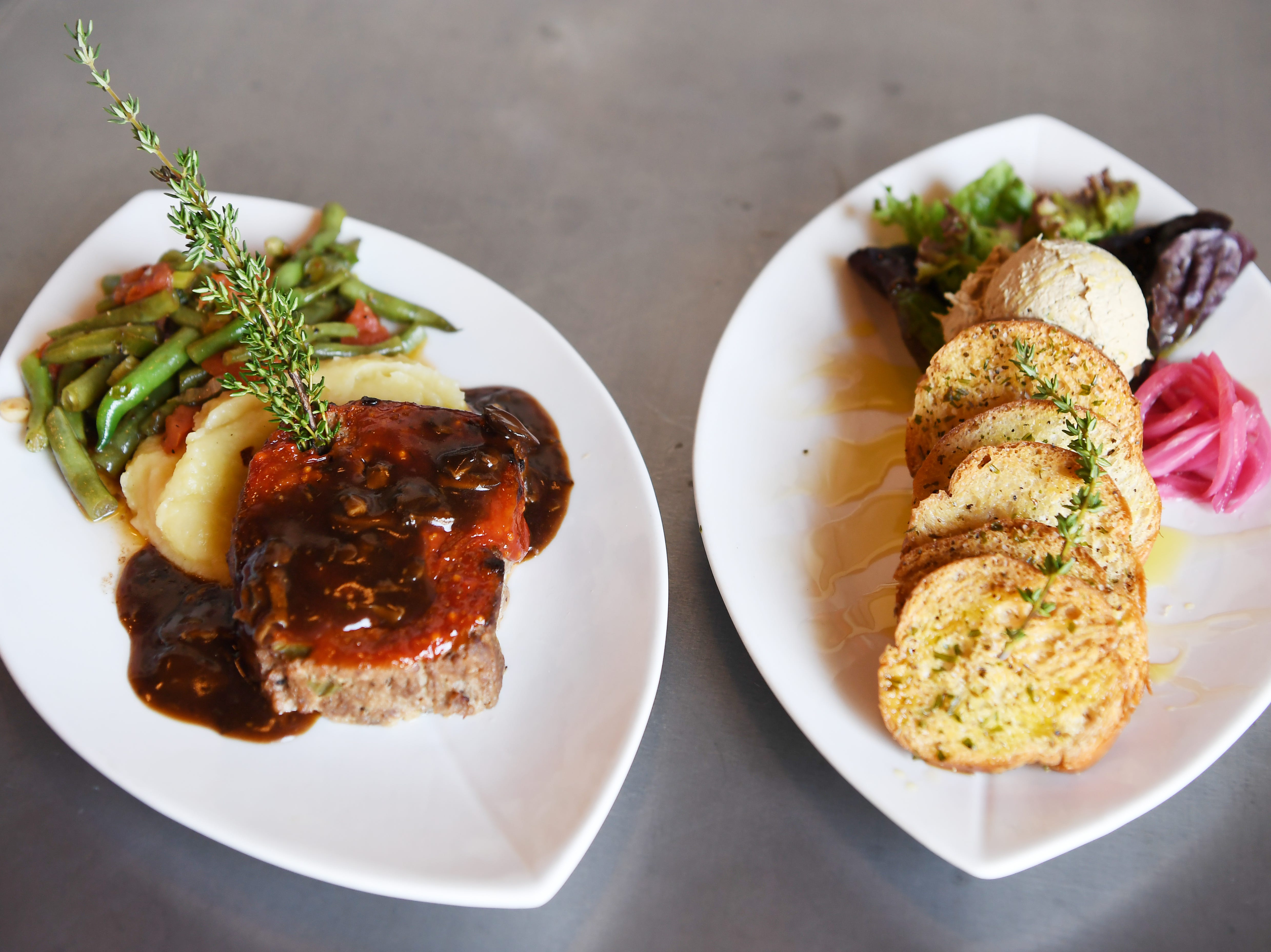 The Continental Lounge's Teague Natural Farms meatloaf, left, and chicken liver mousse.