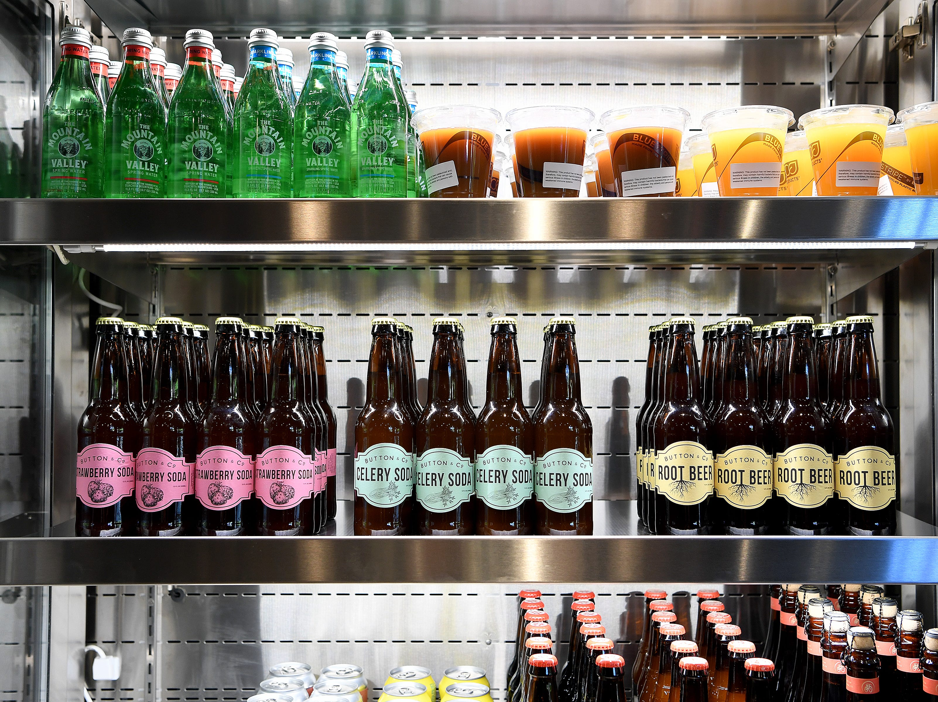 Specially made Button & Co. sodas are for sale at the soon-to-open Button & Co. Bagels on Lexington Avenue. Flavors include strawberry, celery and root beer.