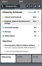 Elizabeth Buckley's DNA test results from AncestryDNA.