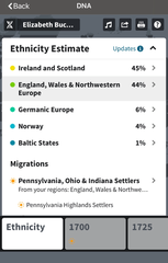 Elizabeth Buckley's DNA test results from AncestryDNA.