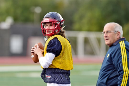 Zane Olmstead, a junior quarterback at Binghamton High School, Athlete Of The Week, October 23, 2018.