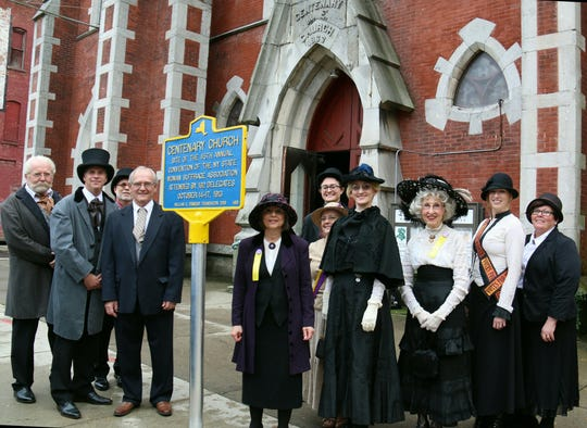 New York state's Path Through History Weekend was celebrated on Oct. 6 with a 1913 New York State Woman Suffrage Association Convention re-enactment and historical marker unveiling at the Landmark Church in Binghamton.