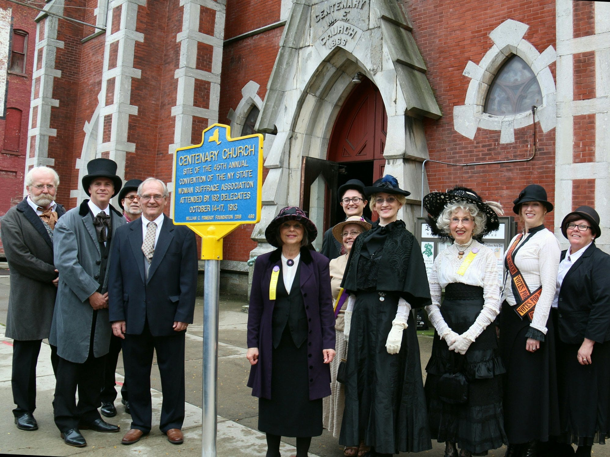 New York State's Path Through History Weekend was celebrated on Oct. 6 with a 1913 NYS Woman Suffrage Association Convention reenactment and historical marker unveiling at the Landmark Church in Binghamton.