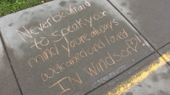 Windsor students wrote encouraging words outside the school for Bullying Prevention Month.