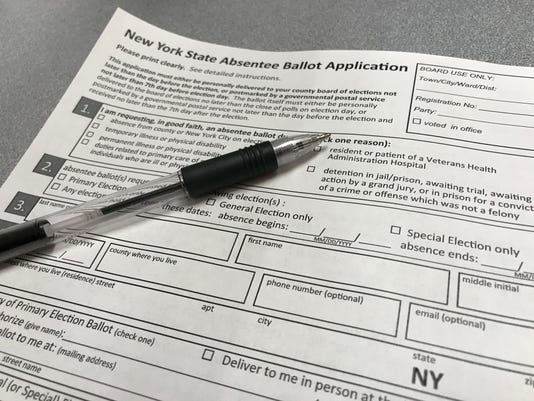 New York State absentee ballot application form.