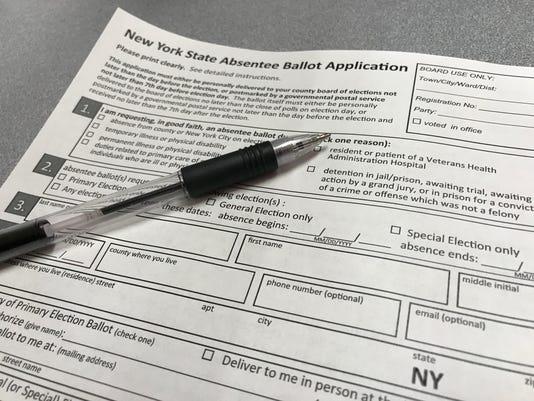 New York State absentee ballot application form.