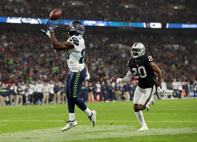 Seattle Seahawks wide receiver David Moore has three touchdowns in his last two games, including this score against the Raiders in London on Oct. 14.
