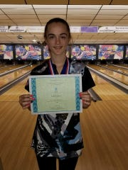 Jackie Koehler won the girls individual competition Monday in Cape Coast Conference bowling. Courtesy of Leslie Shinault.