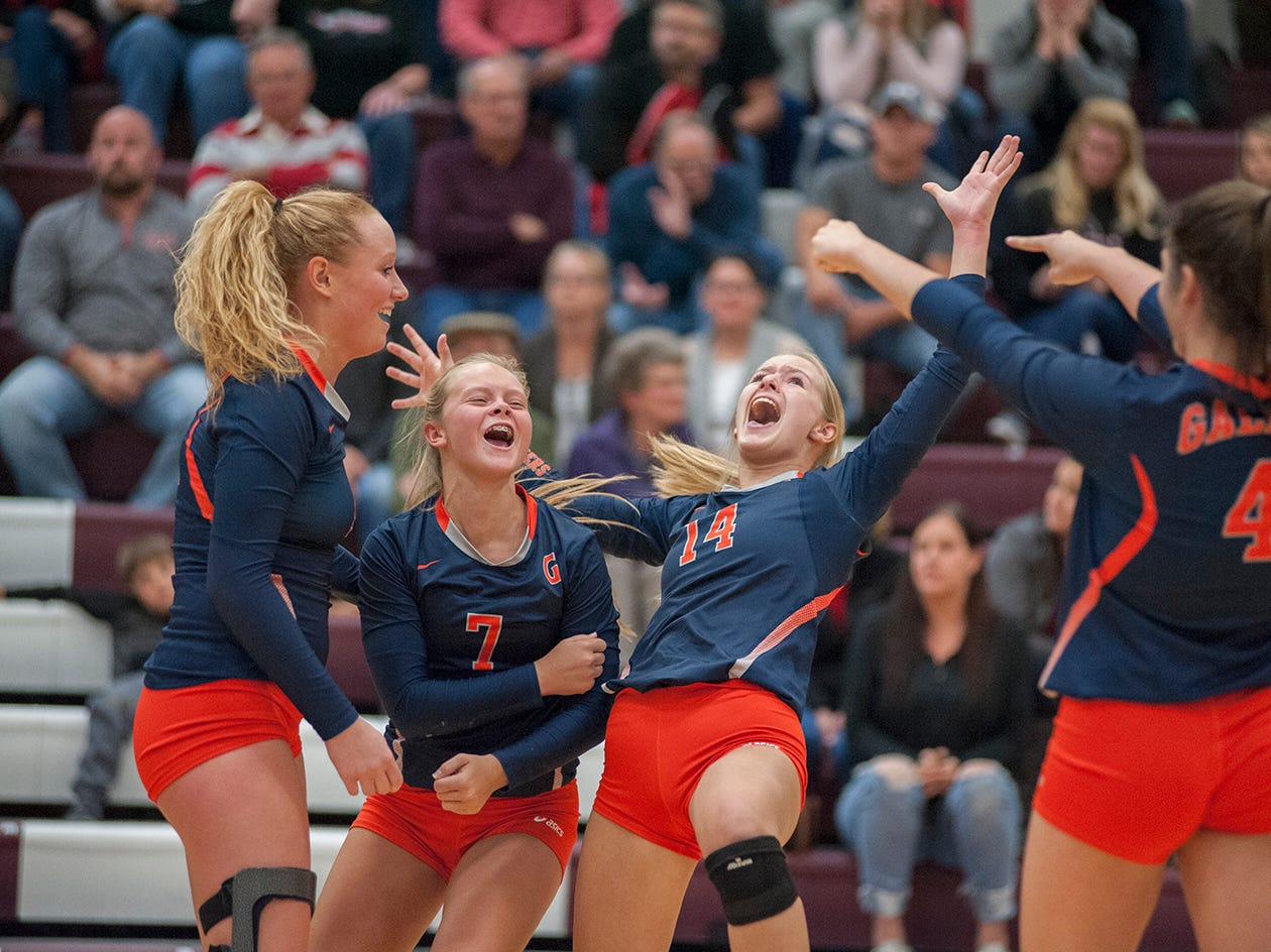Galion celebrates after winning a point.
