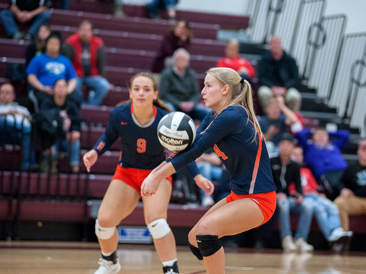 Galion's Abby Foust receives a serve.