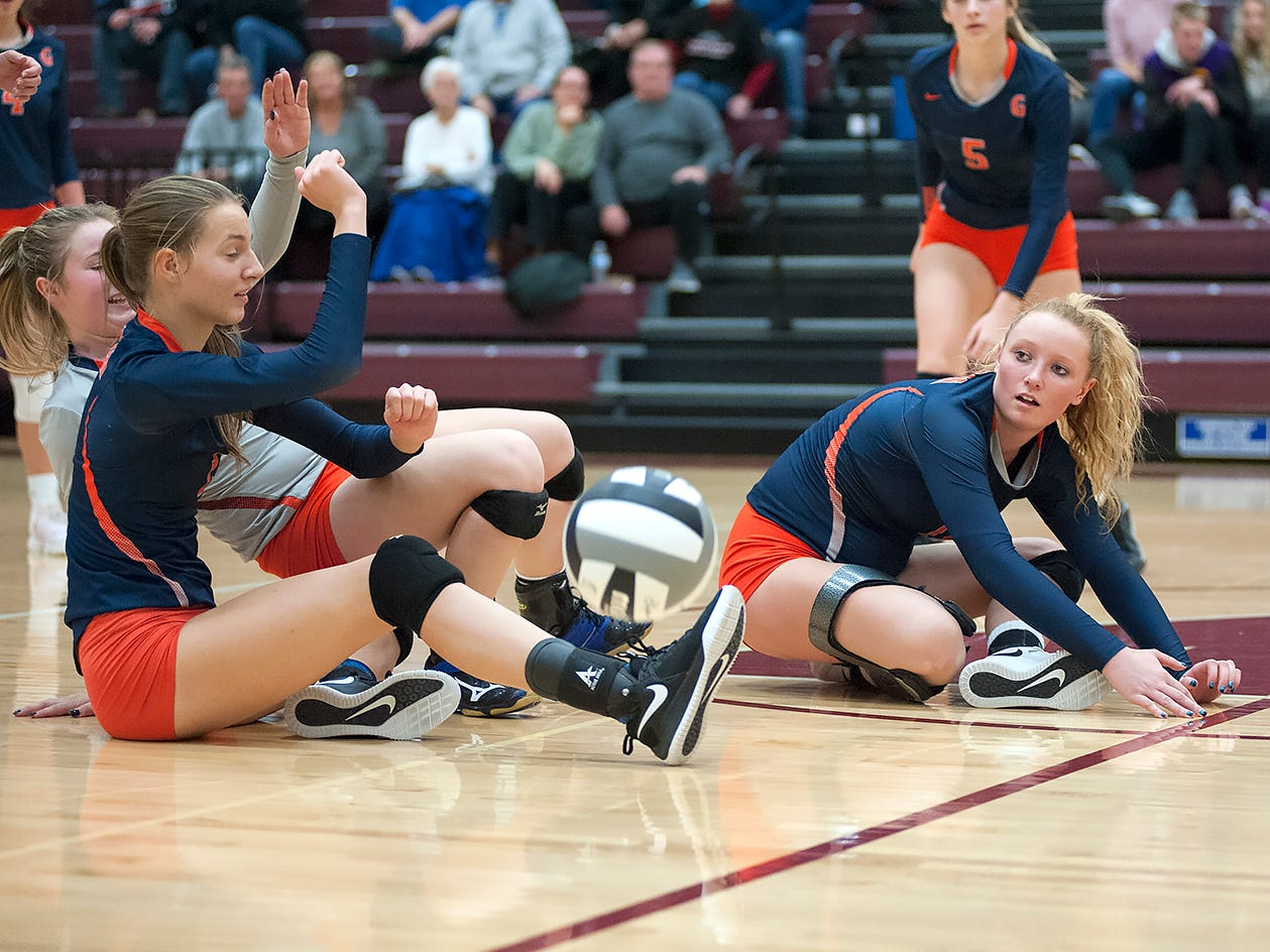 Galion's Kerrigan Myers and Nicole Thomas can't return a Crestview hit.
