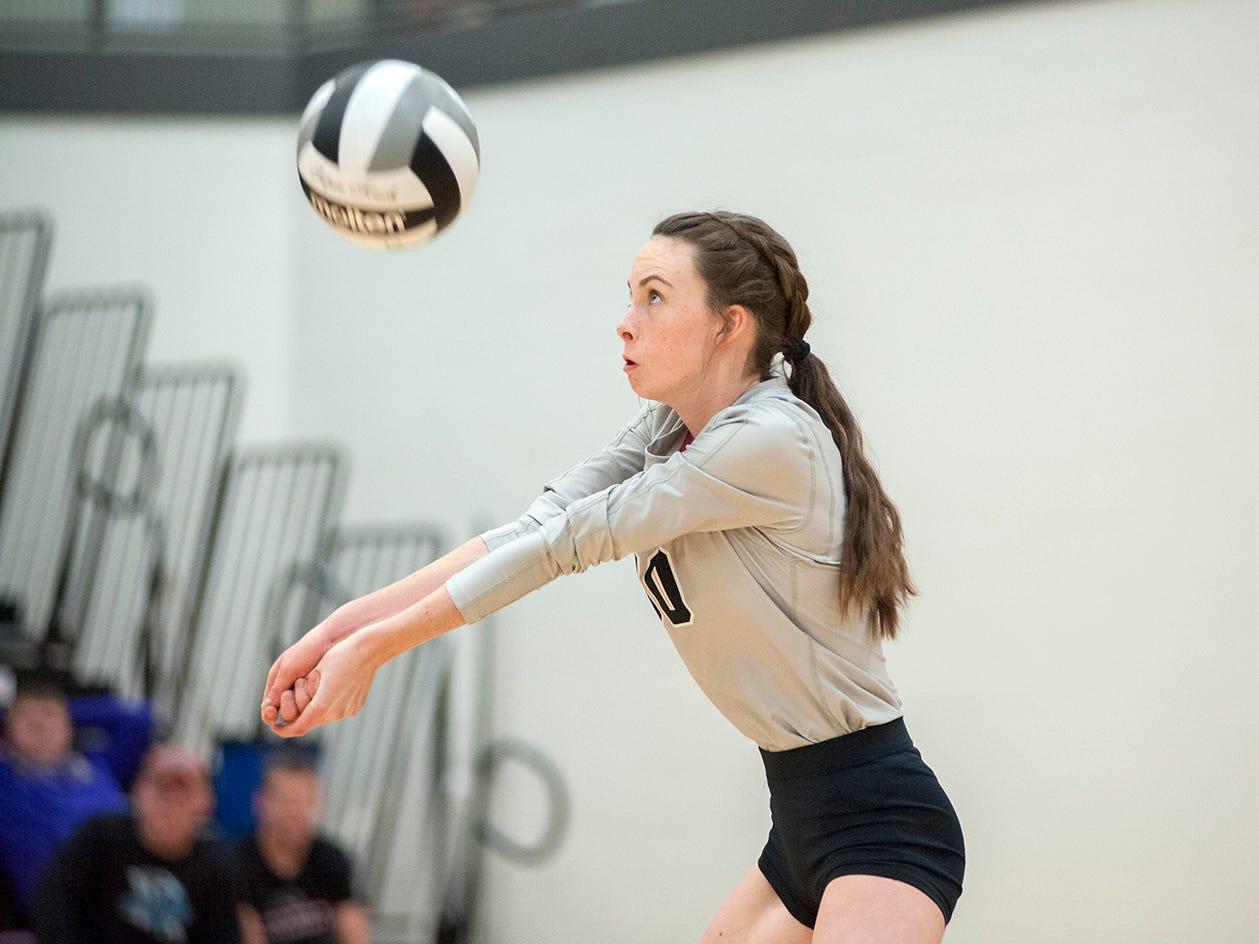 Crestview's Rebekah Kaufman receives a serve.