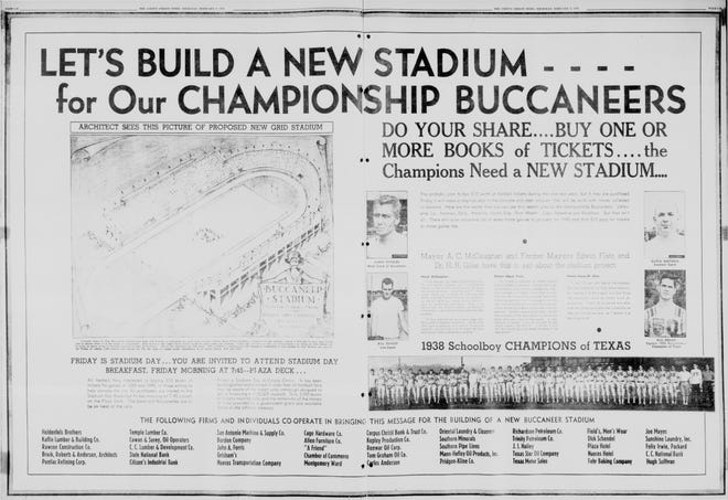 An ad in the Feb. 9, 1939 Caller-Times encouraging readers to build a new stadium for the Buccaneers. Buc Stadium was formally opened in 1941, although it hosted games while partially completed in 1940.