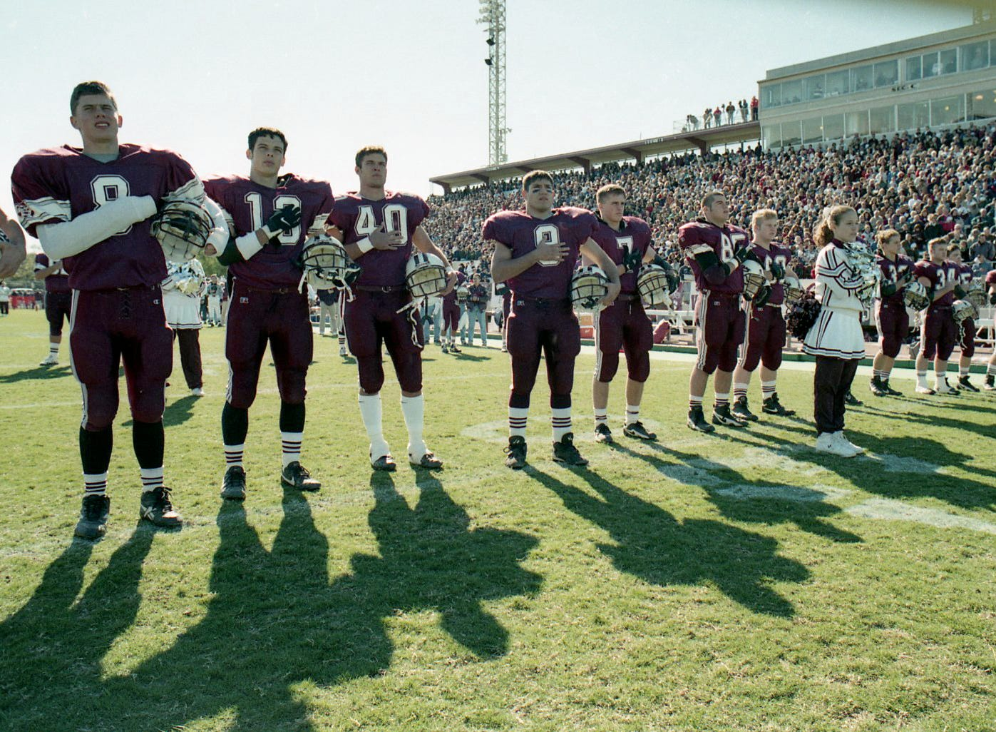 Calallen players line up before the start of the state semifinal game against La Marque on Dec. 13, 1997 at Buc Stadium.